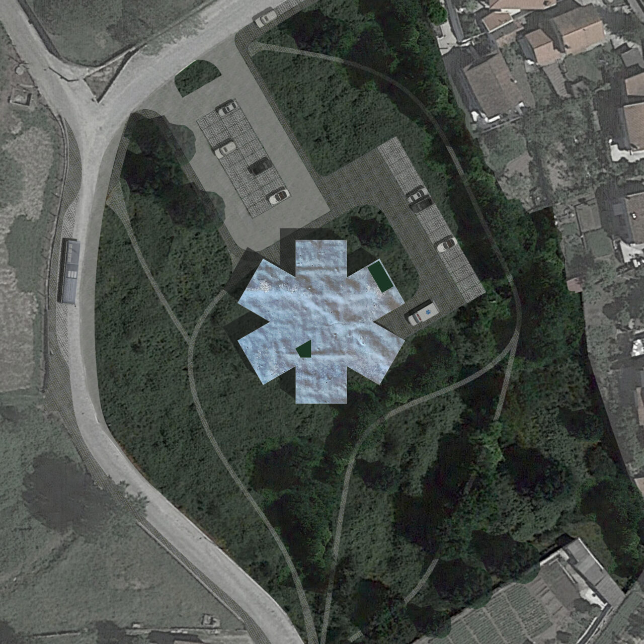 Planta de cobertura com envolvente (quadrado)